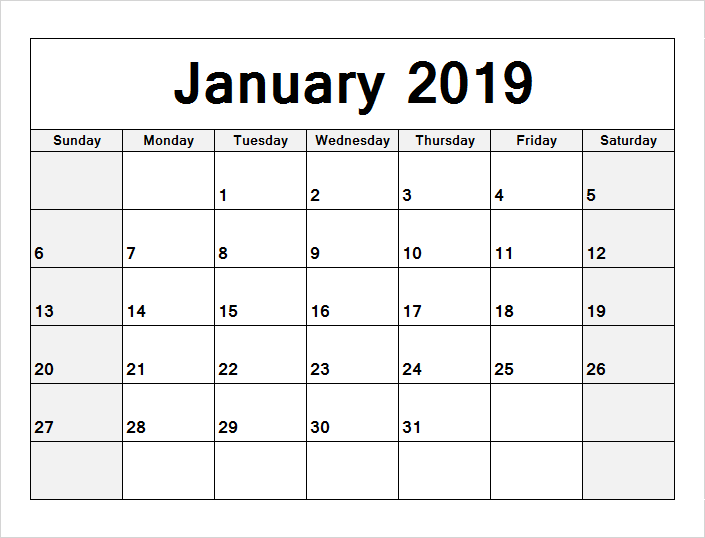 Monthly January 2019 PDF Calendar Template Planner