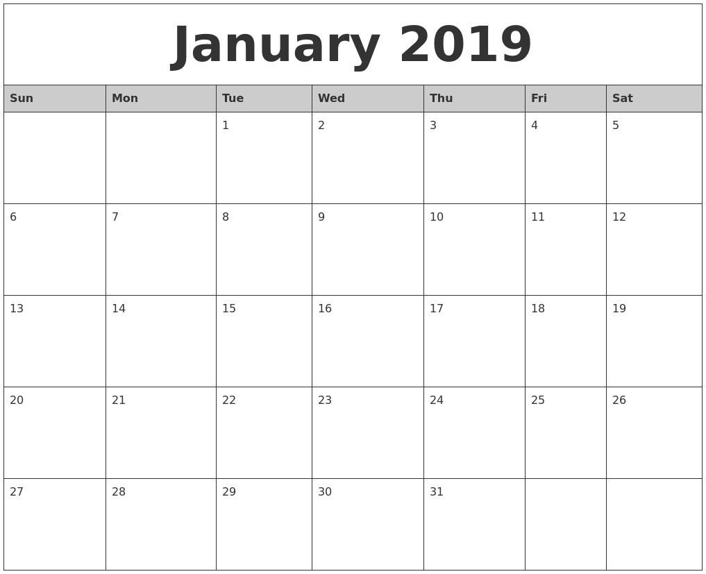 Monthly Printable Calendar January 2019