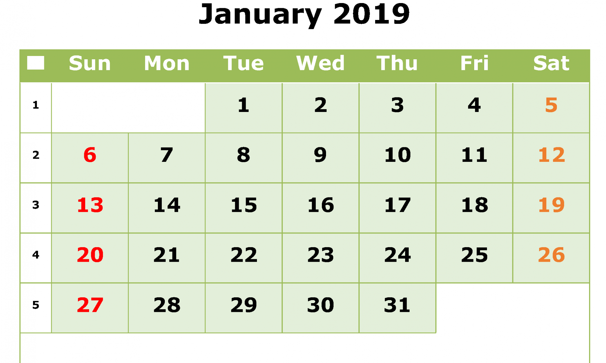 Monthly Printable January 2019 Calendar