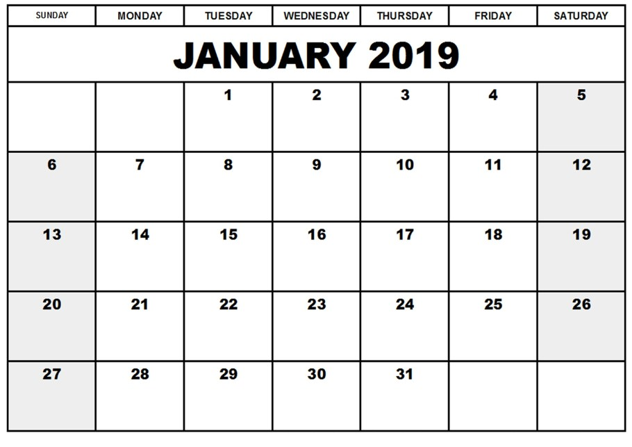 Monthly Printable January Calendar 2019