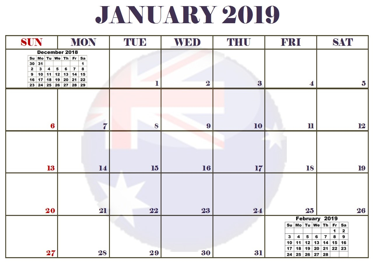 Online Printable January 2019 Calendar Australia