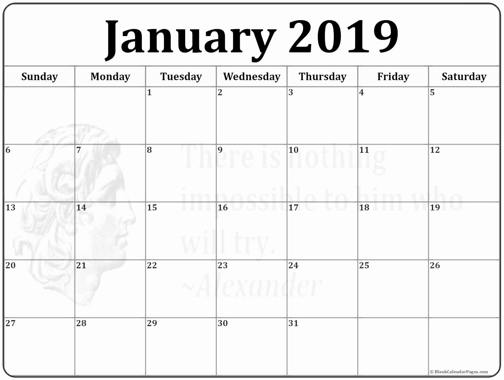 Printable 2019 Waterproof Calendar January