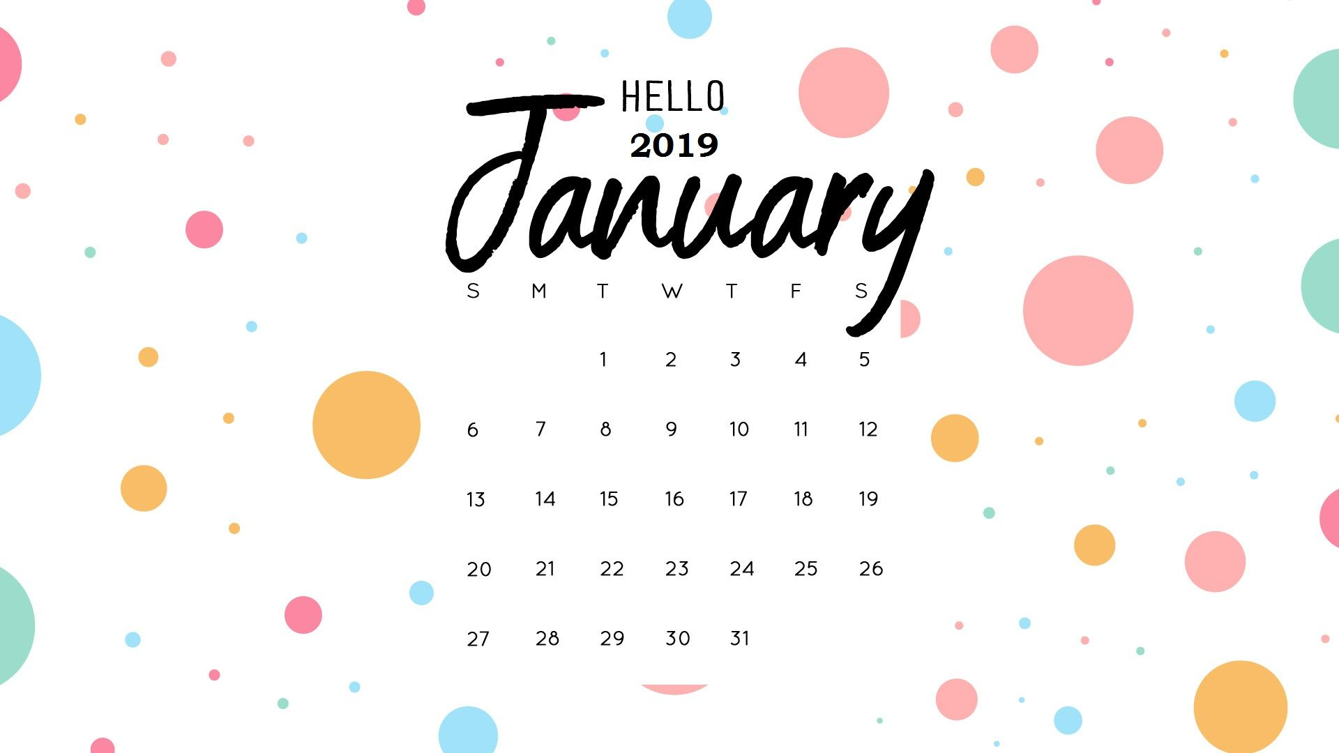 Printable Calendar January 2019 Wallpaper