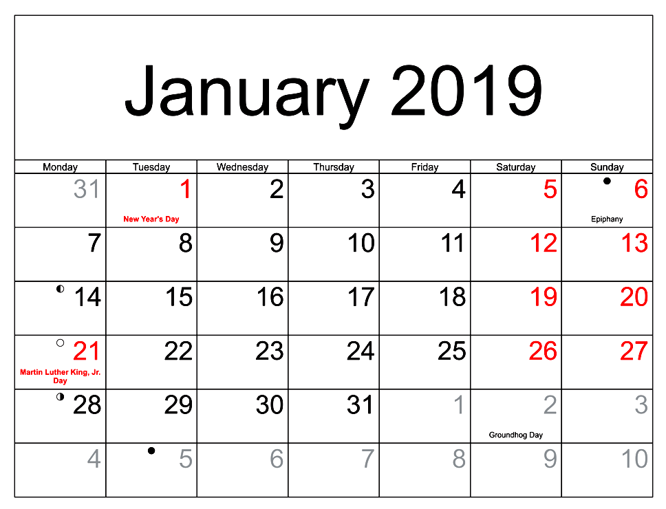Printable Calendar January 2019 With Holidays