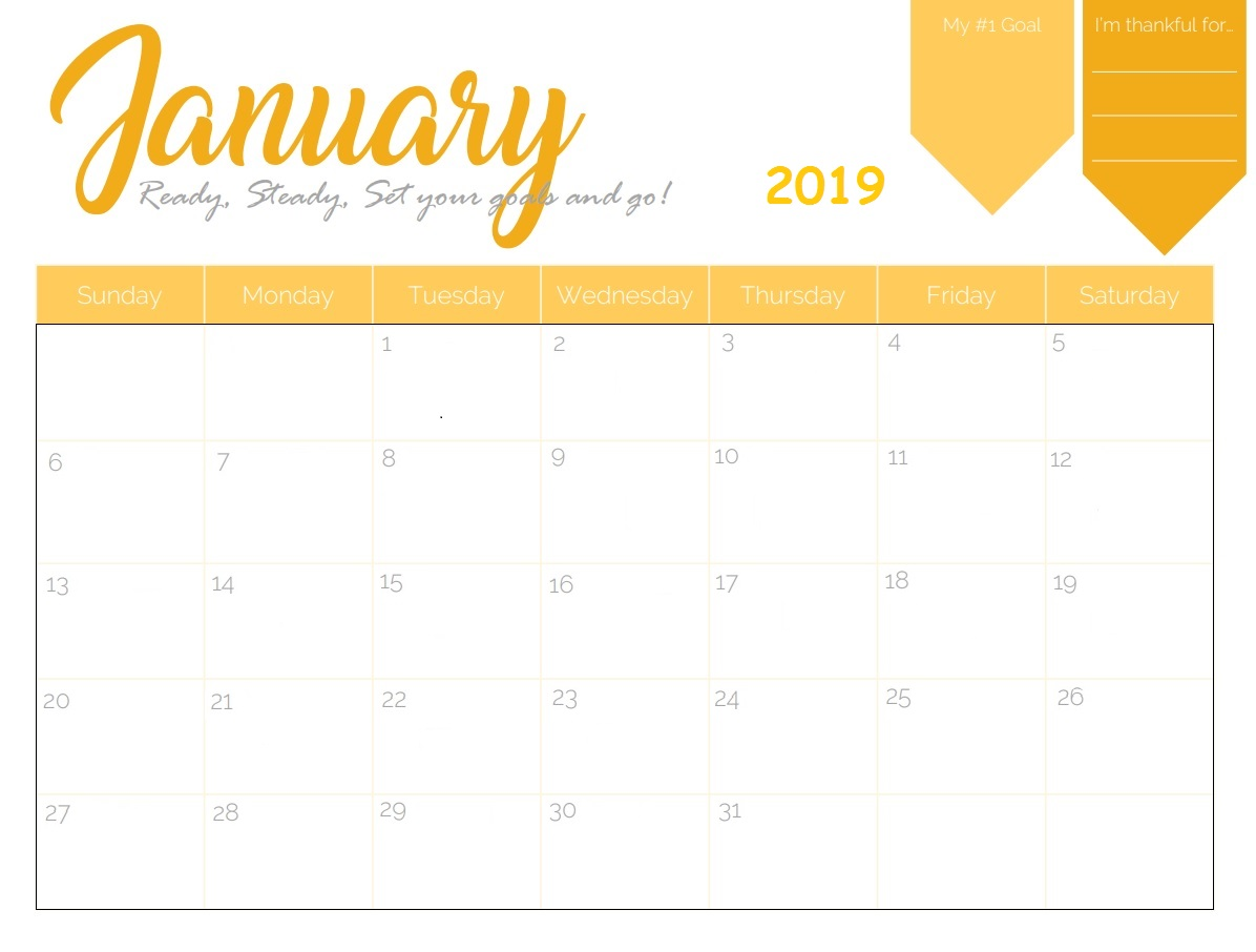 Printable January 2019 Calendar Landscape