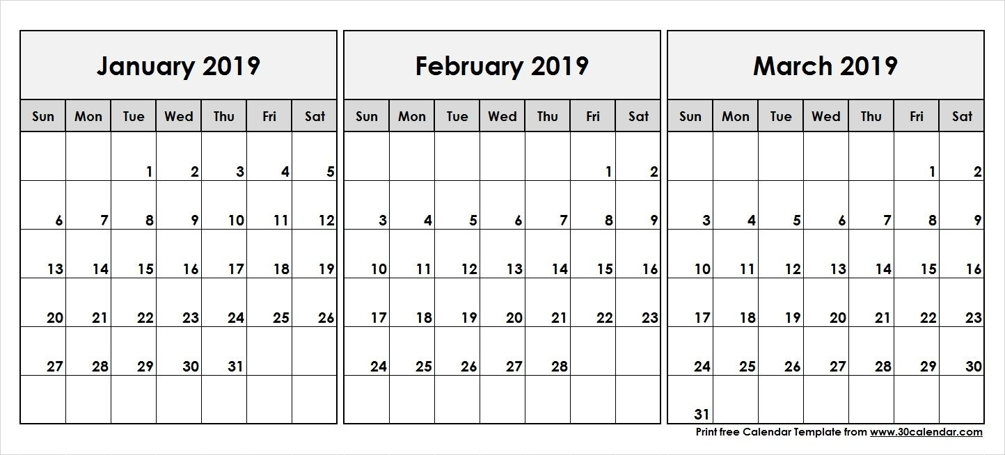Printable January February March 2019 Calendar