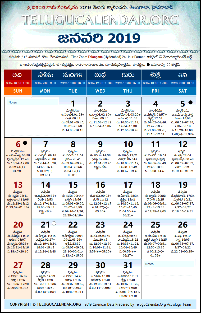 2019 January Calendar Telugu