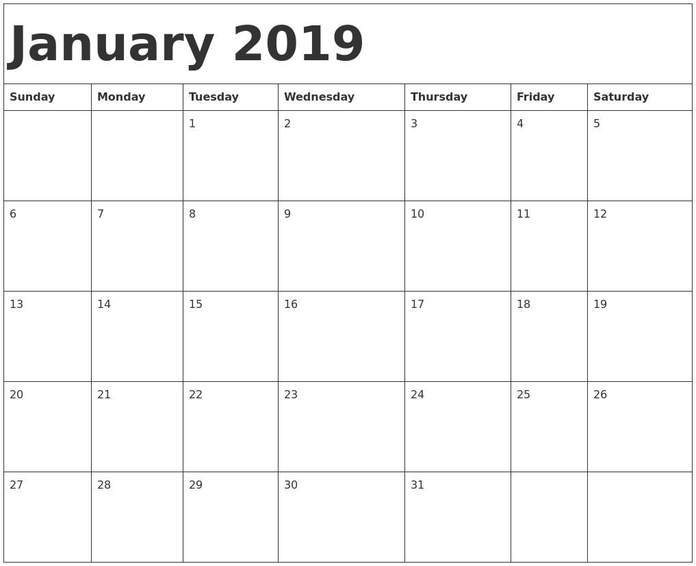 Blank Calendar January 2019 For Horizontal
