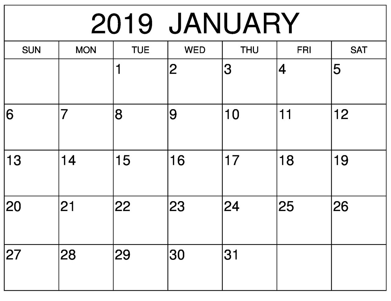 Blank Calendar January 2019 For Vertical Template
