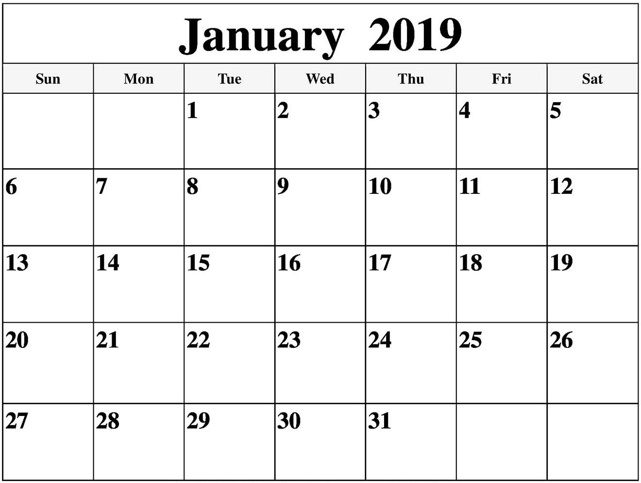 Blank Calendar January 2019 Free Download