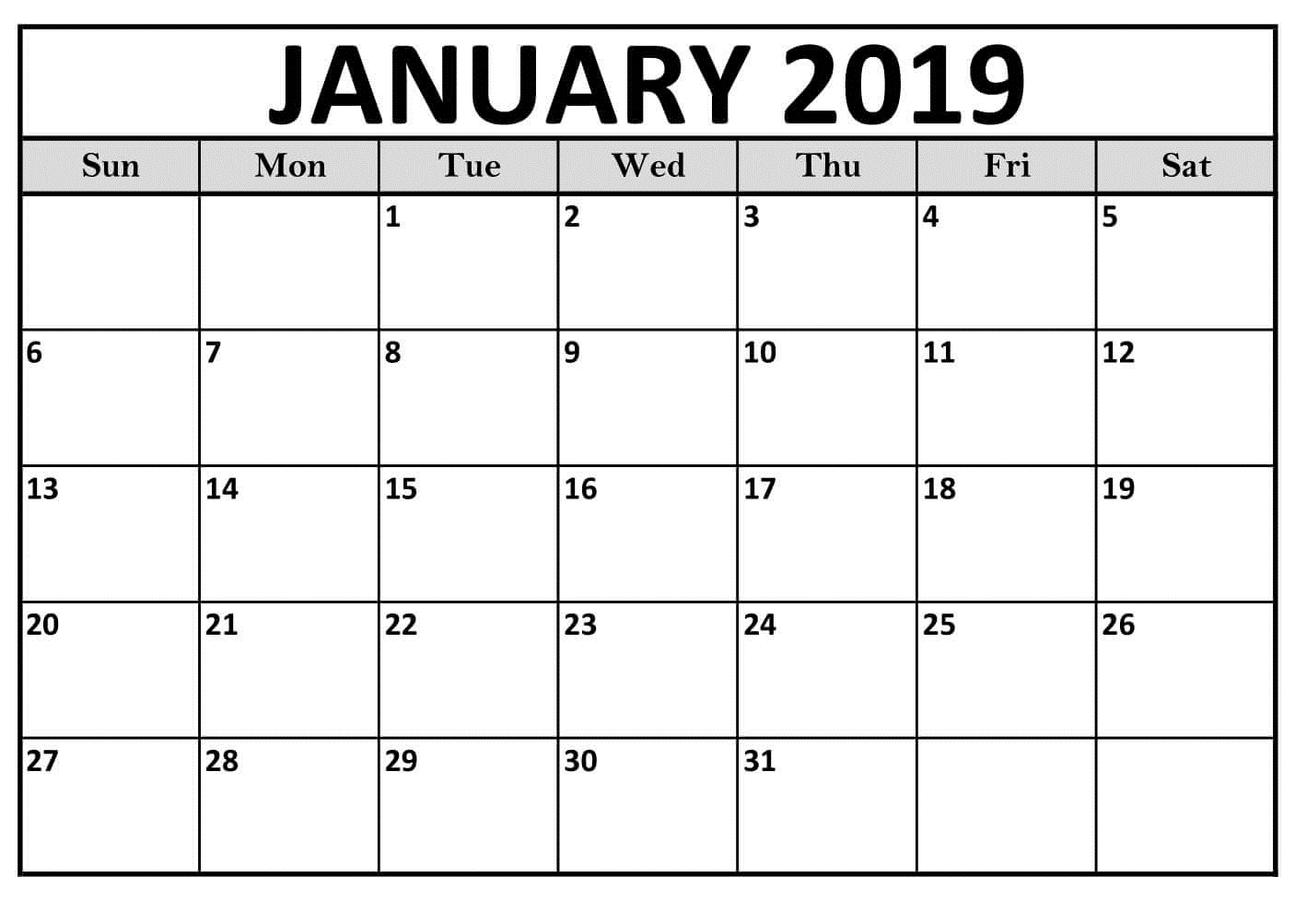 Blank January 2019 Calendar For Landscape