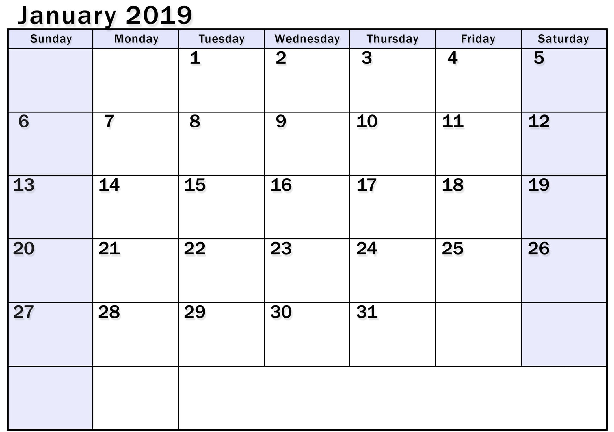 Blank January 2019 Calendar With Holidays