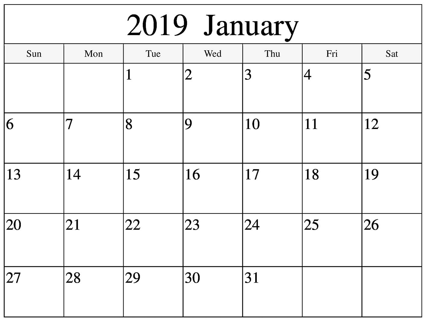 Blank January 2019 Calendar With Notes