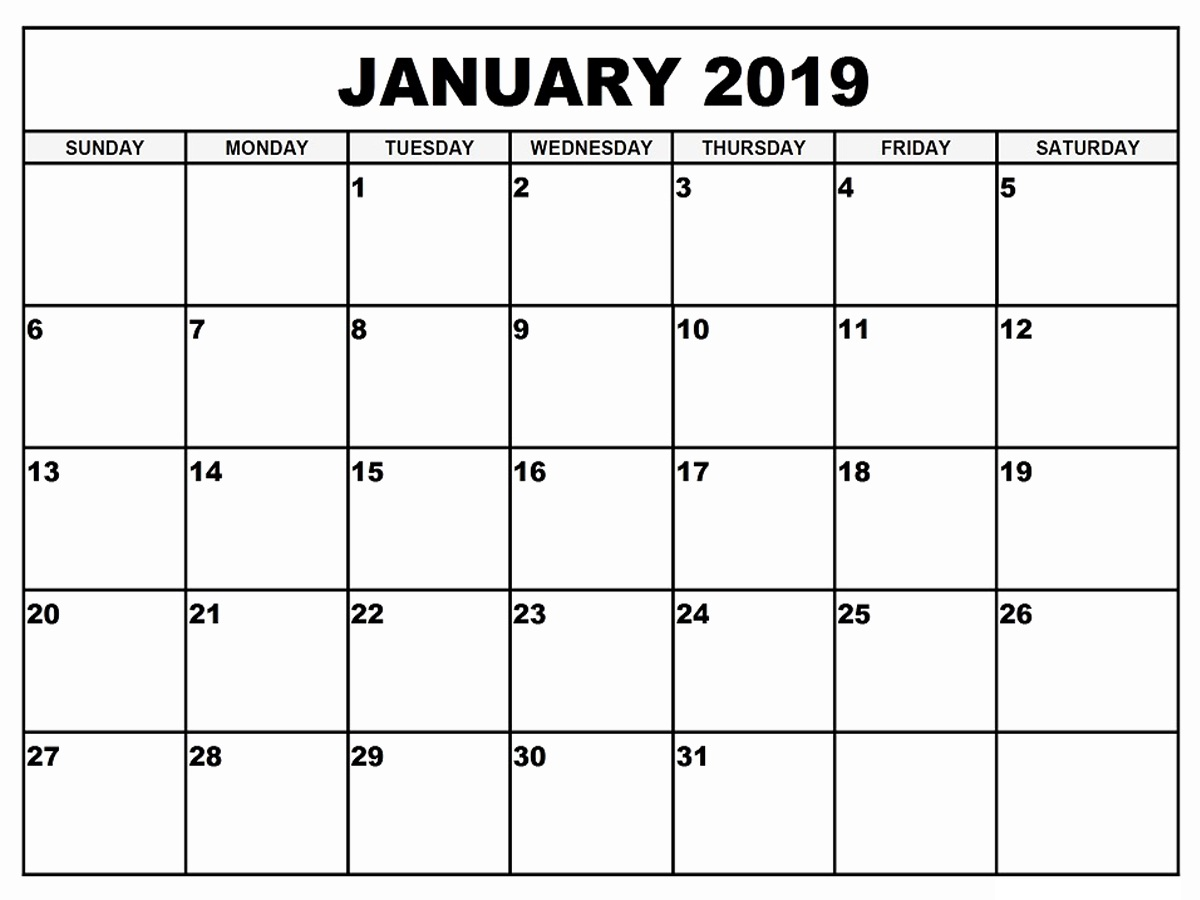 Calendar 2019 January Printable Template