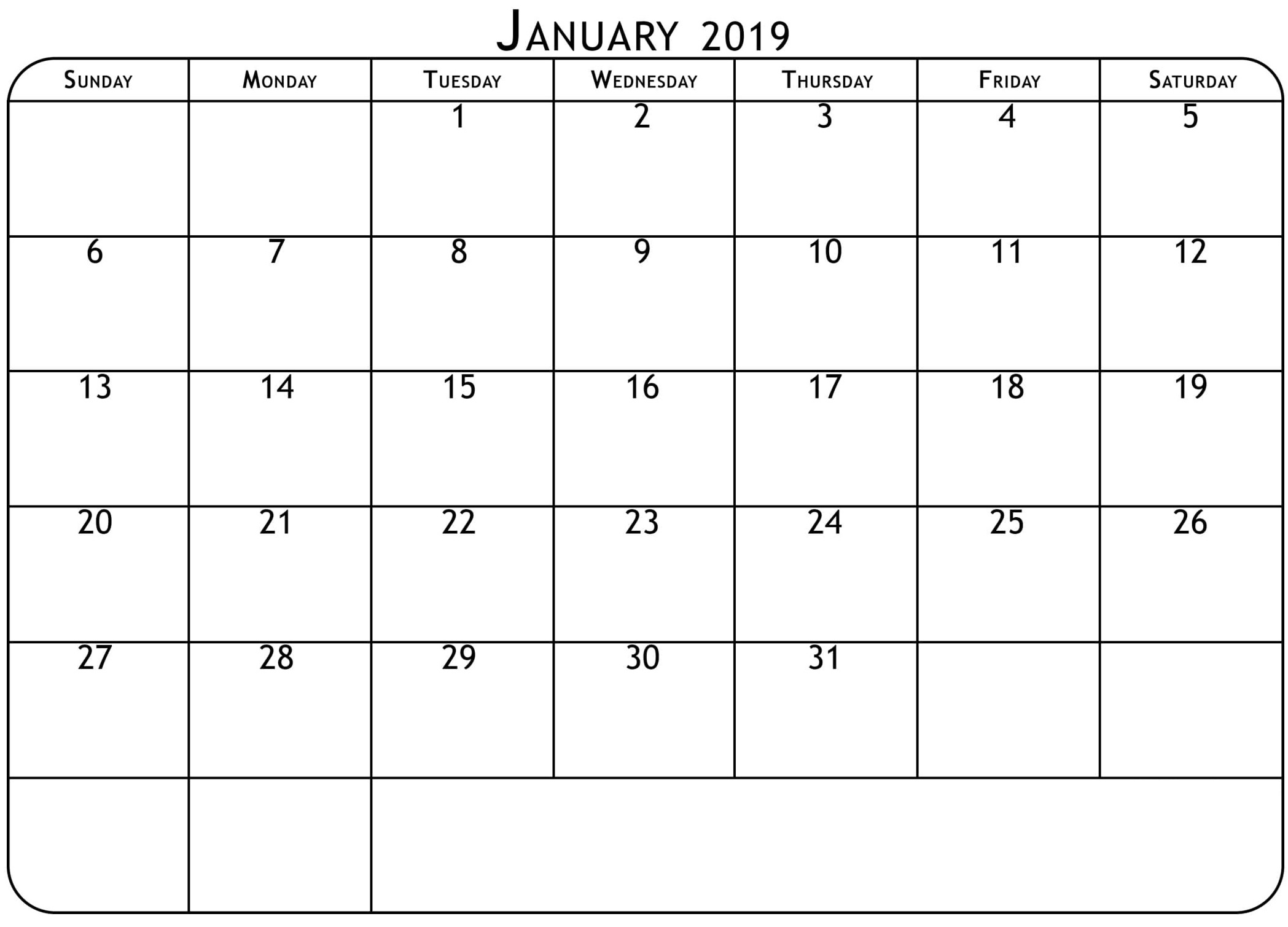 Free Download Blank Calendar January 2019