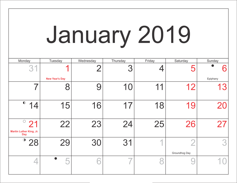Holidays Calendar January 2019