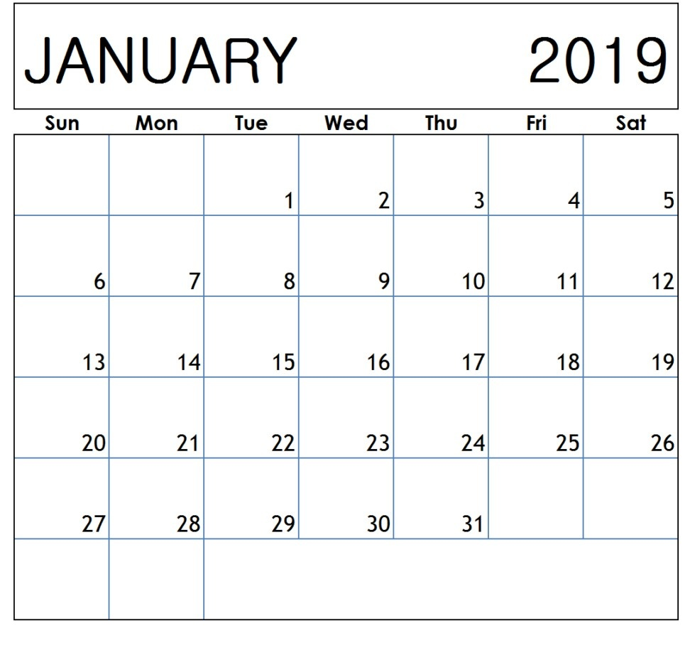 January 2019 Calendar PDF Template Sheet