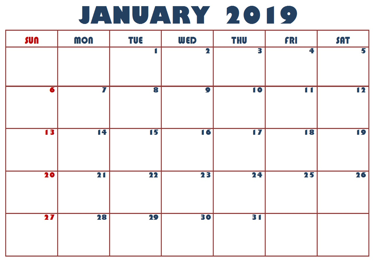 graphic relating to January Calendar Printable known as January 2019 Printable Calendar Phrase, Excel, PDF