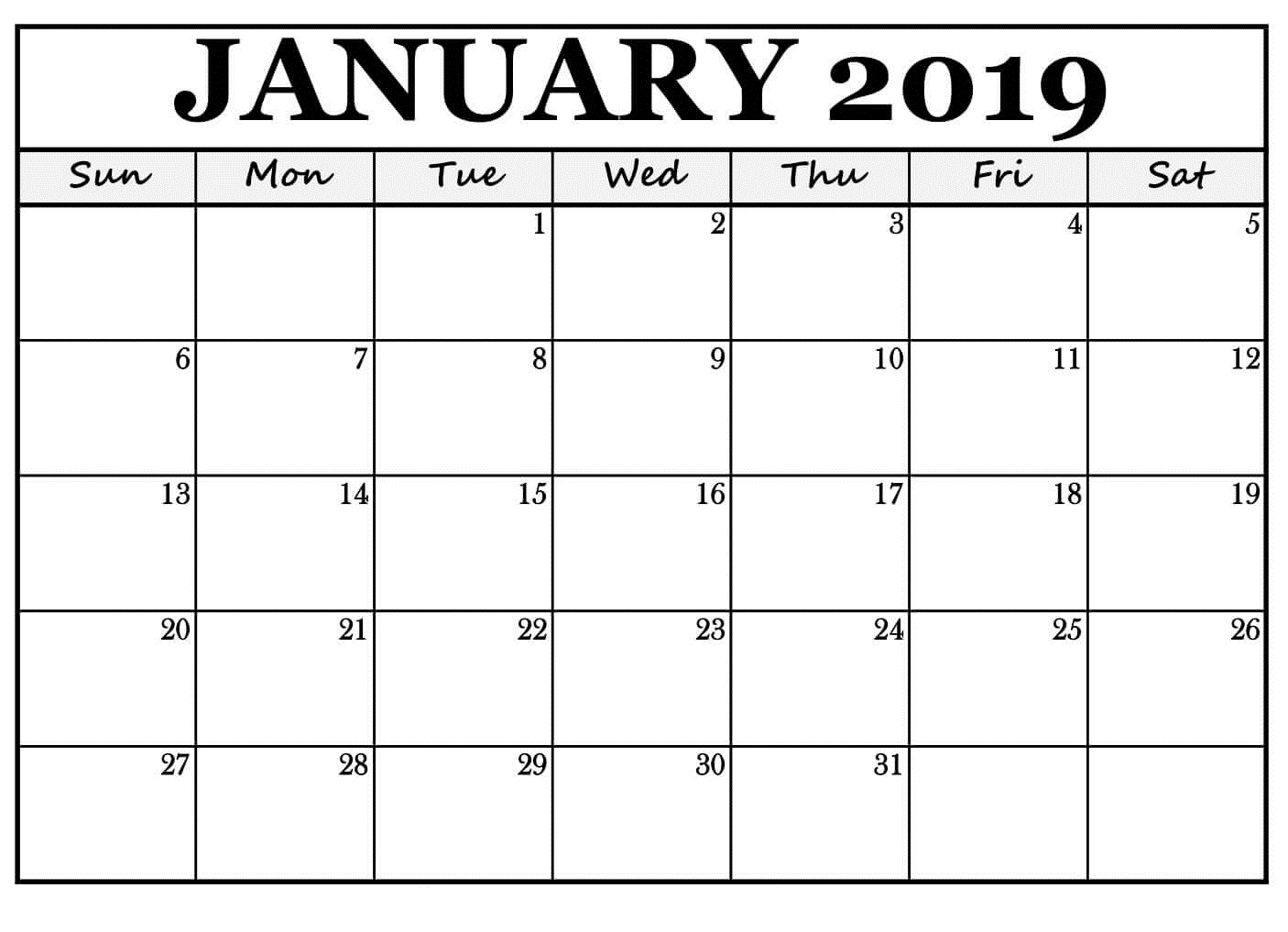 January 2019 Calendar Reminders Free Template