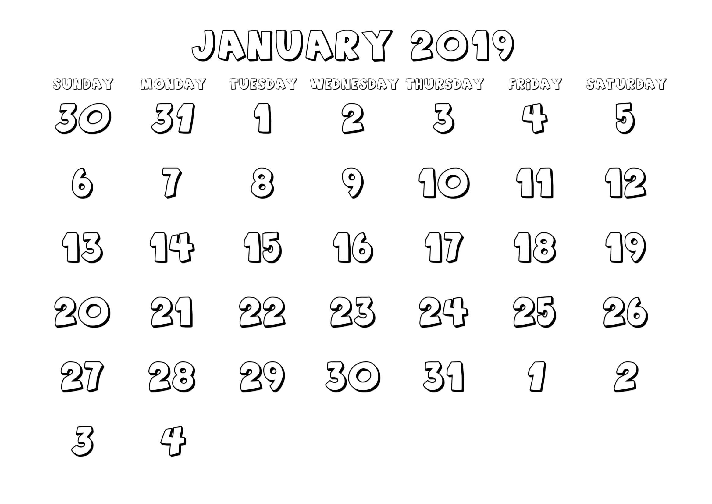 January 2019 Calendar Template UK
