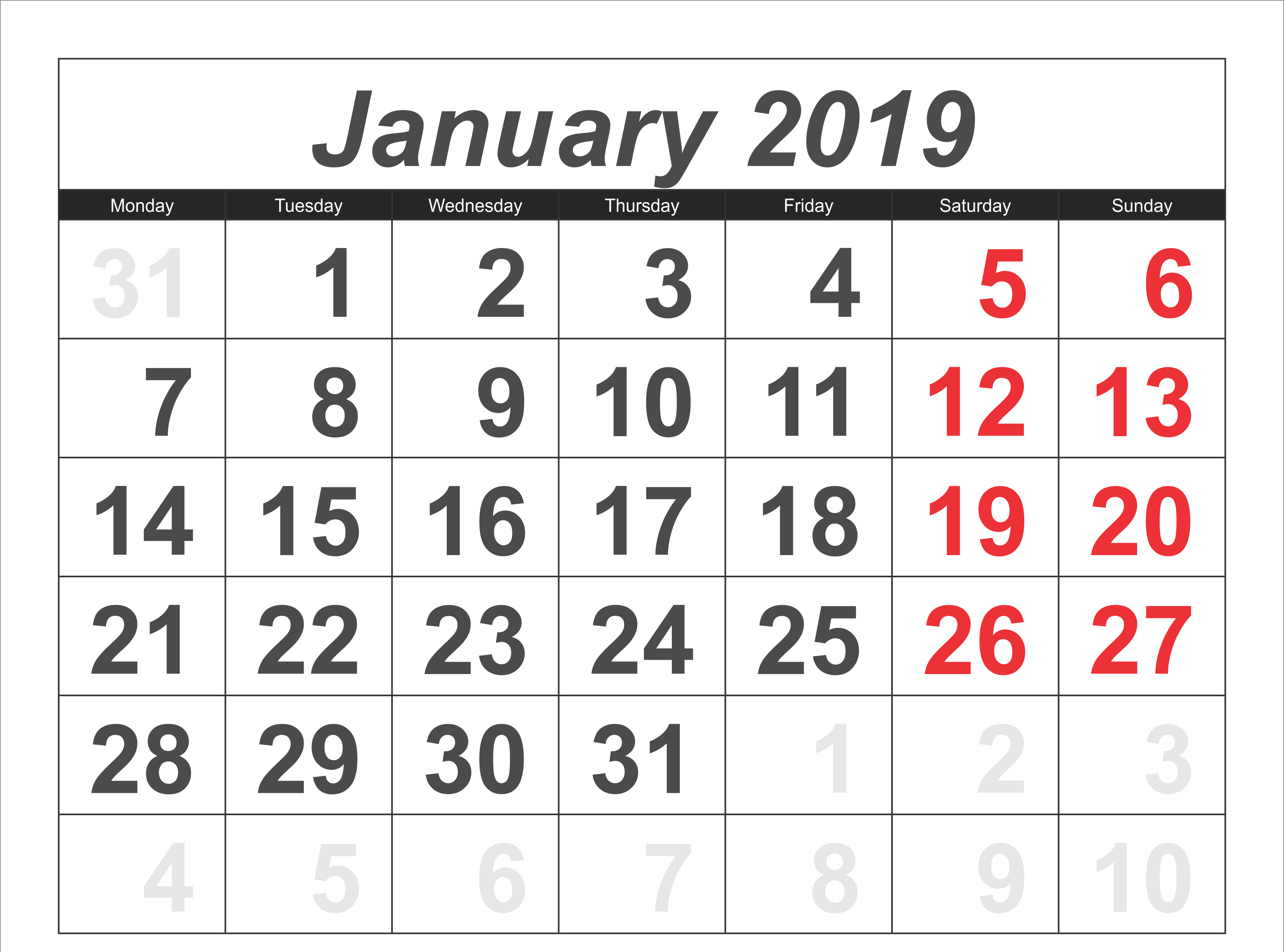 January 2019 Calendar Template USA