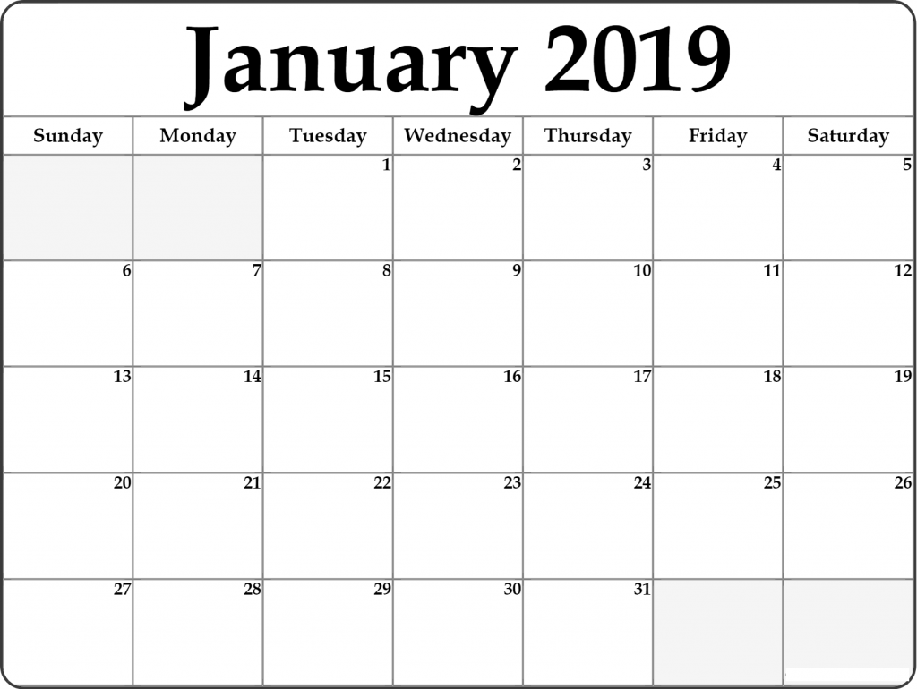 January 2019 Calendar Word Template For Office