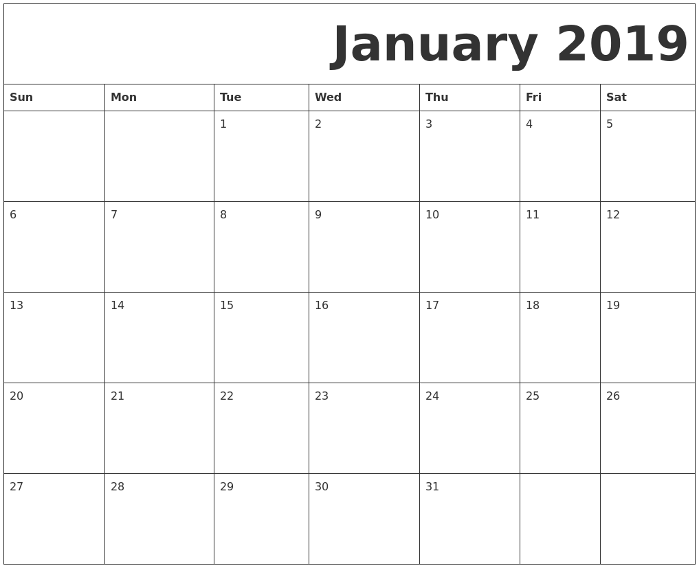 January 2019 Monthly Blank Calendar