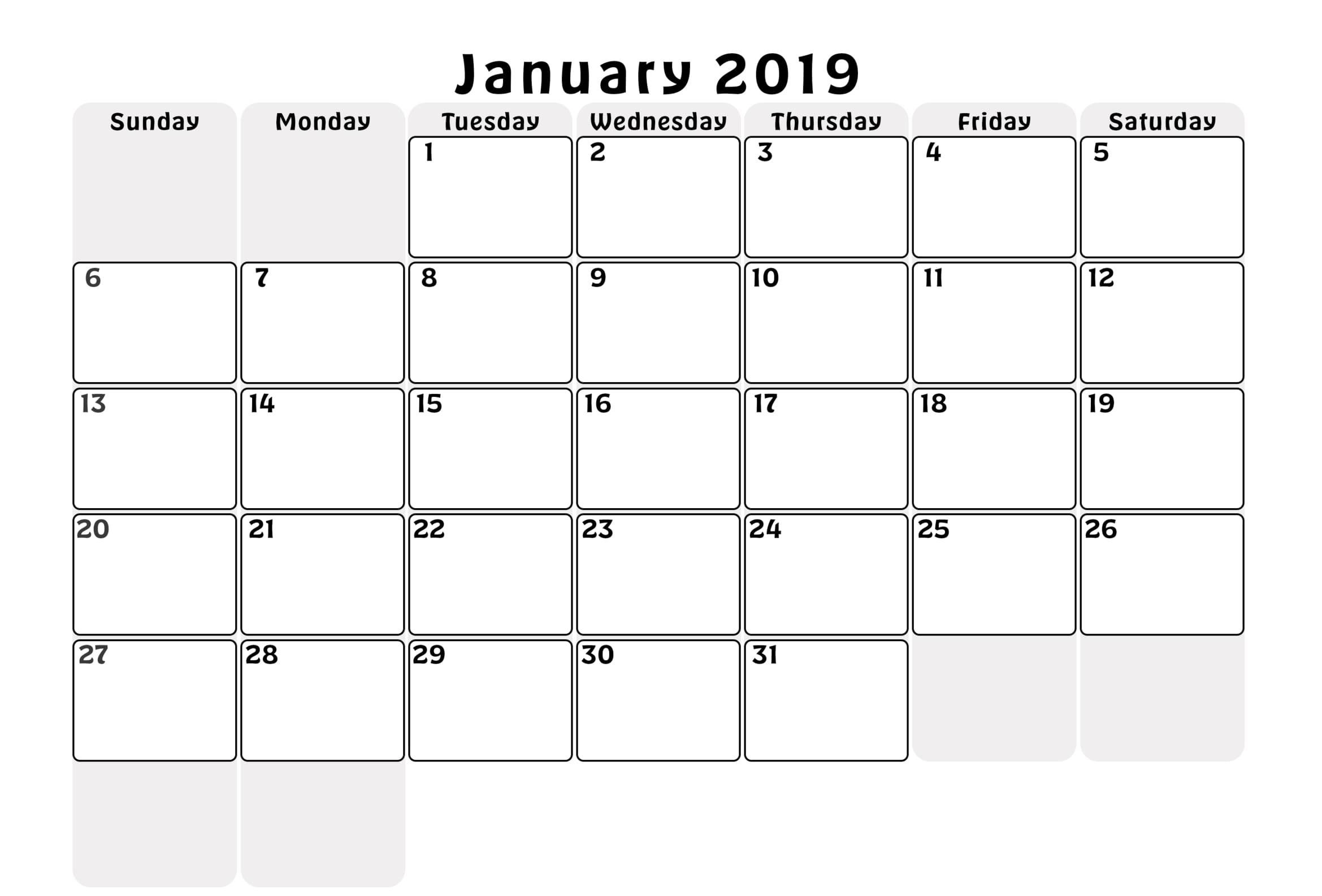 January 2019 Monthly Calendar Excel