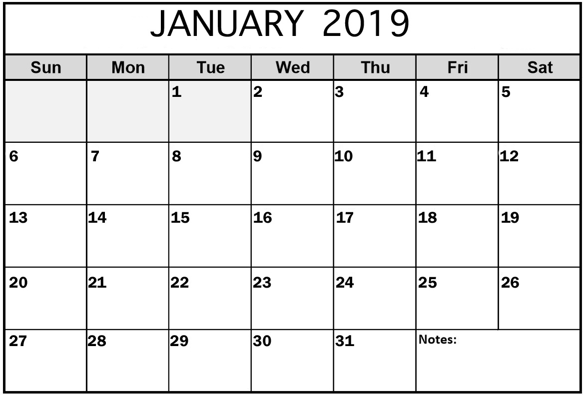 January 2019 Monthly Calendar Free Printable
