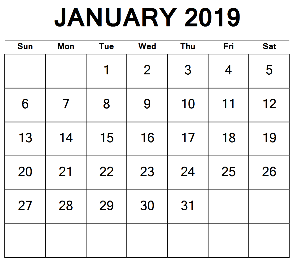 January 2019 Monthly Calendar Landscape