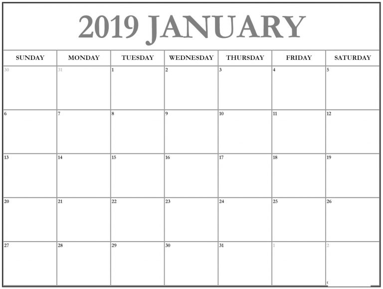 January 2019 Monthly Calendar Template On Page