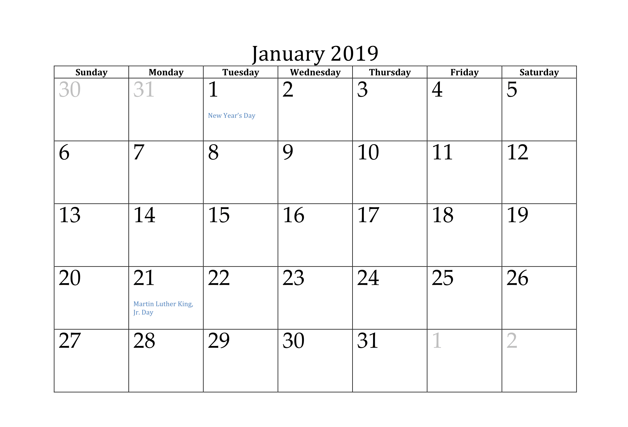 January 2019 Monthly Calendar USA