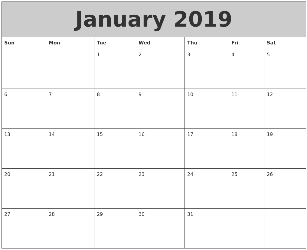 January 2019 Monthly Calendar With Holiday