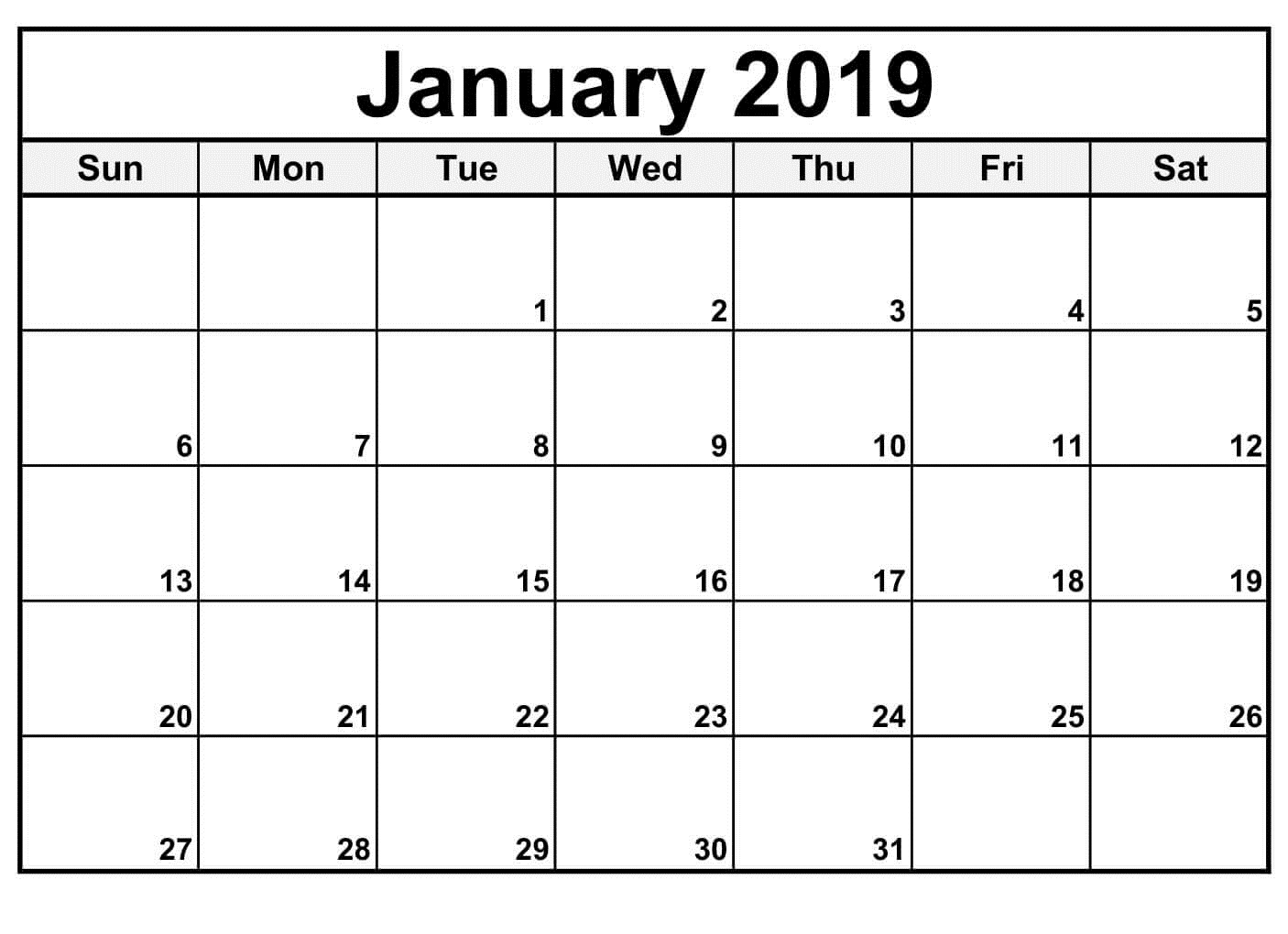 January 2019 Monthly Customized Calendar