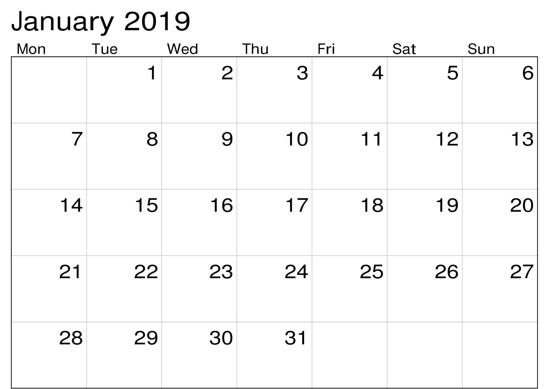 January 2019 Monthly Editable Calendar