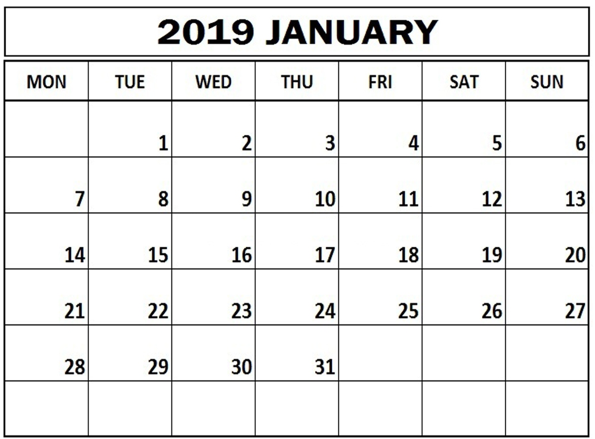 January 2019 Monthly Printable Calendar
