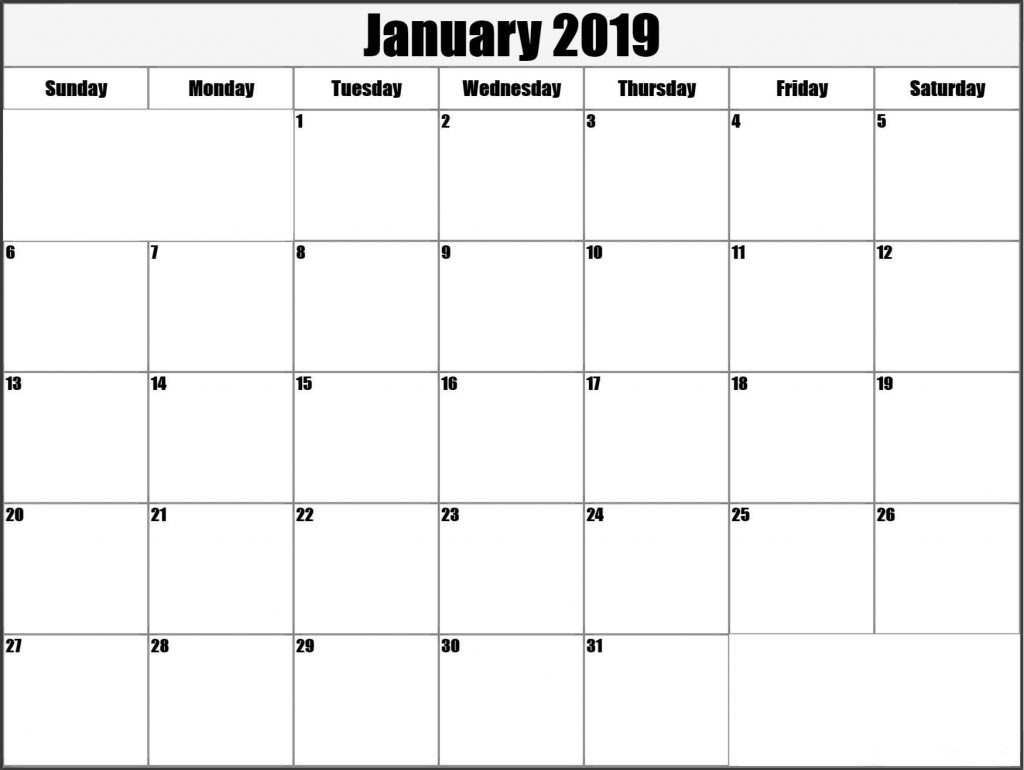January 2019 Monthly Calendar Template