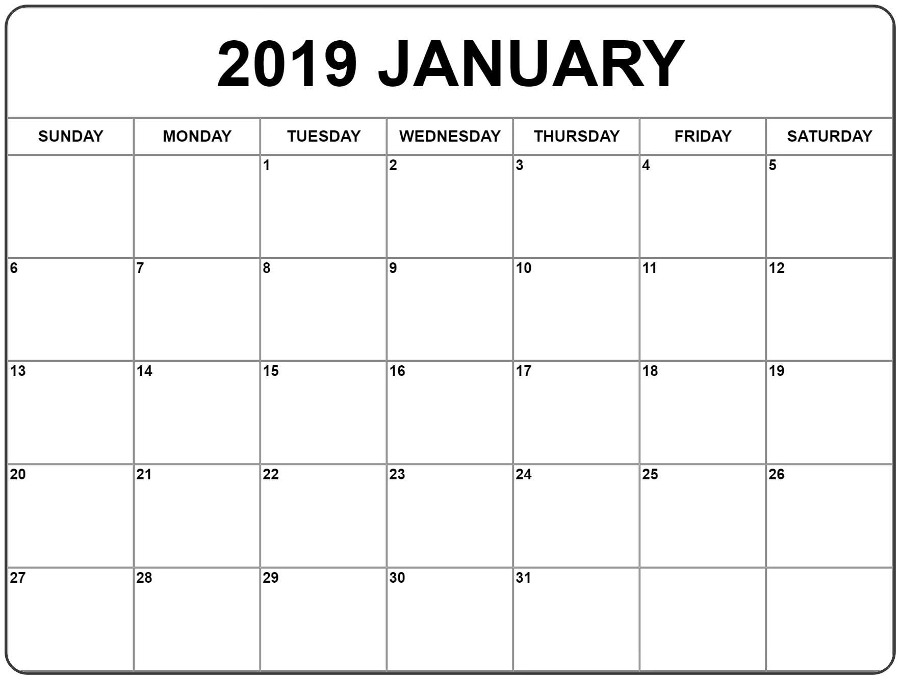 January 2019 Printable Calendar Template
