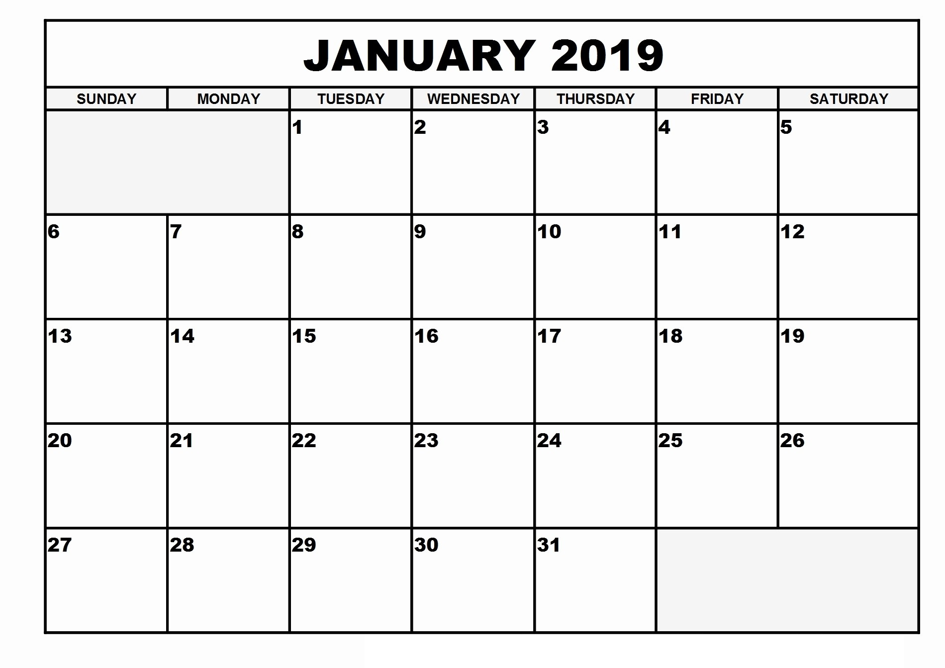 January Calendar 2019 Holidays For word