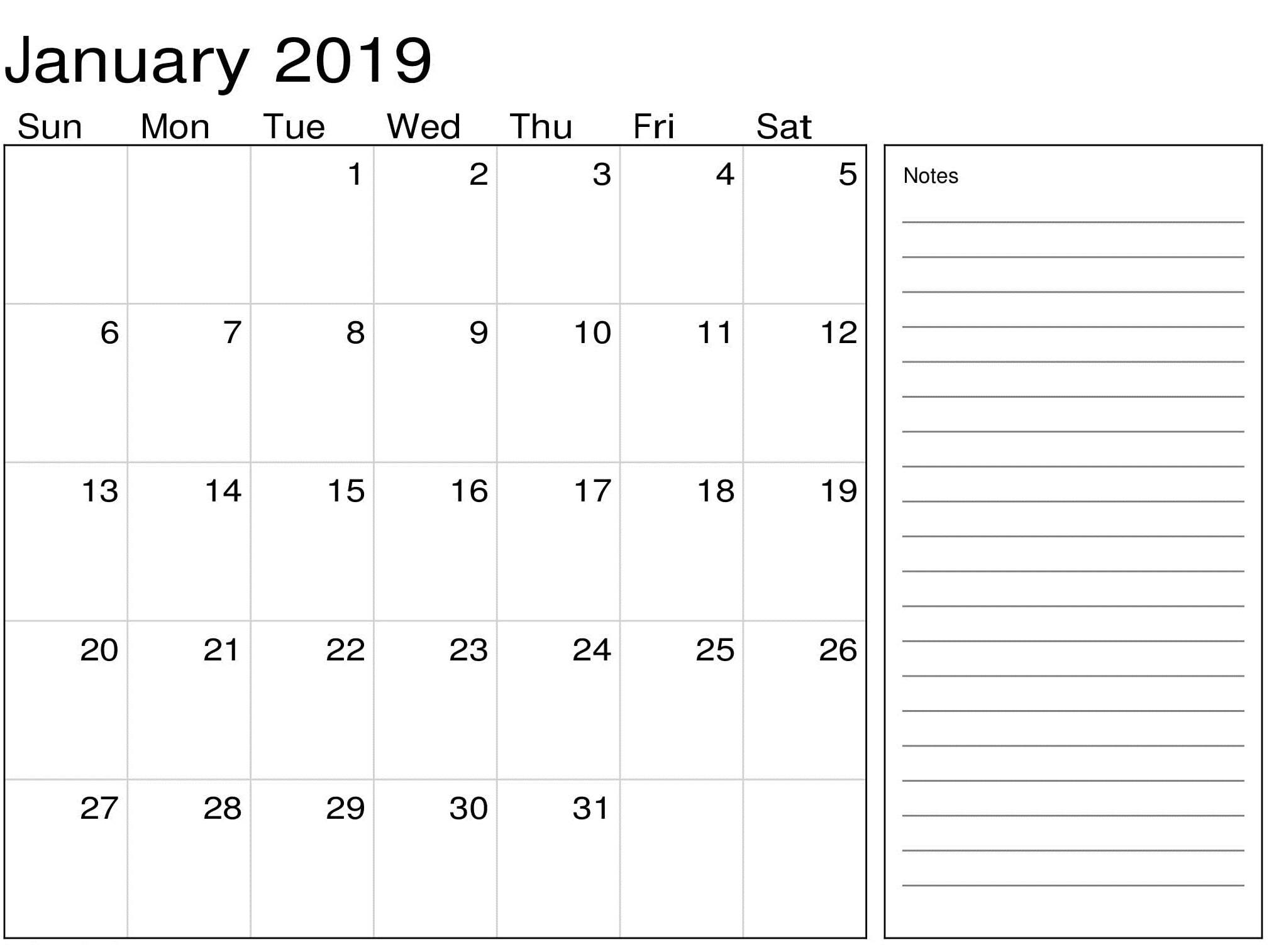 January Calendar 2019 With Notes