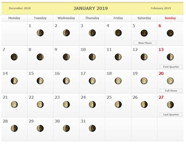 Lunar Moon Phases Calendar January 2019