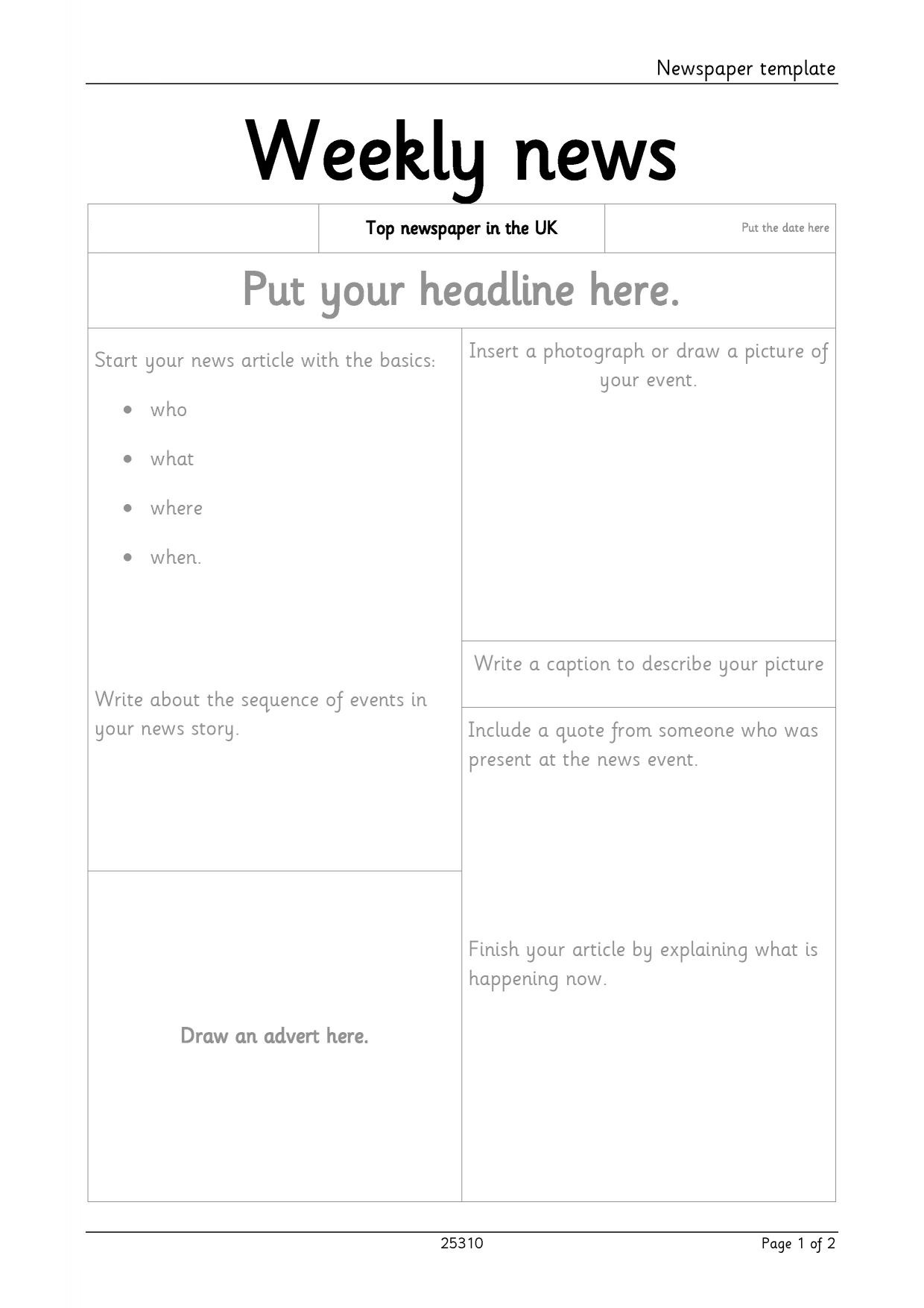 Newspaper Template For Microsoft Word.