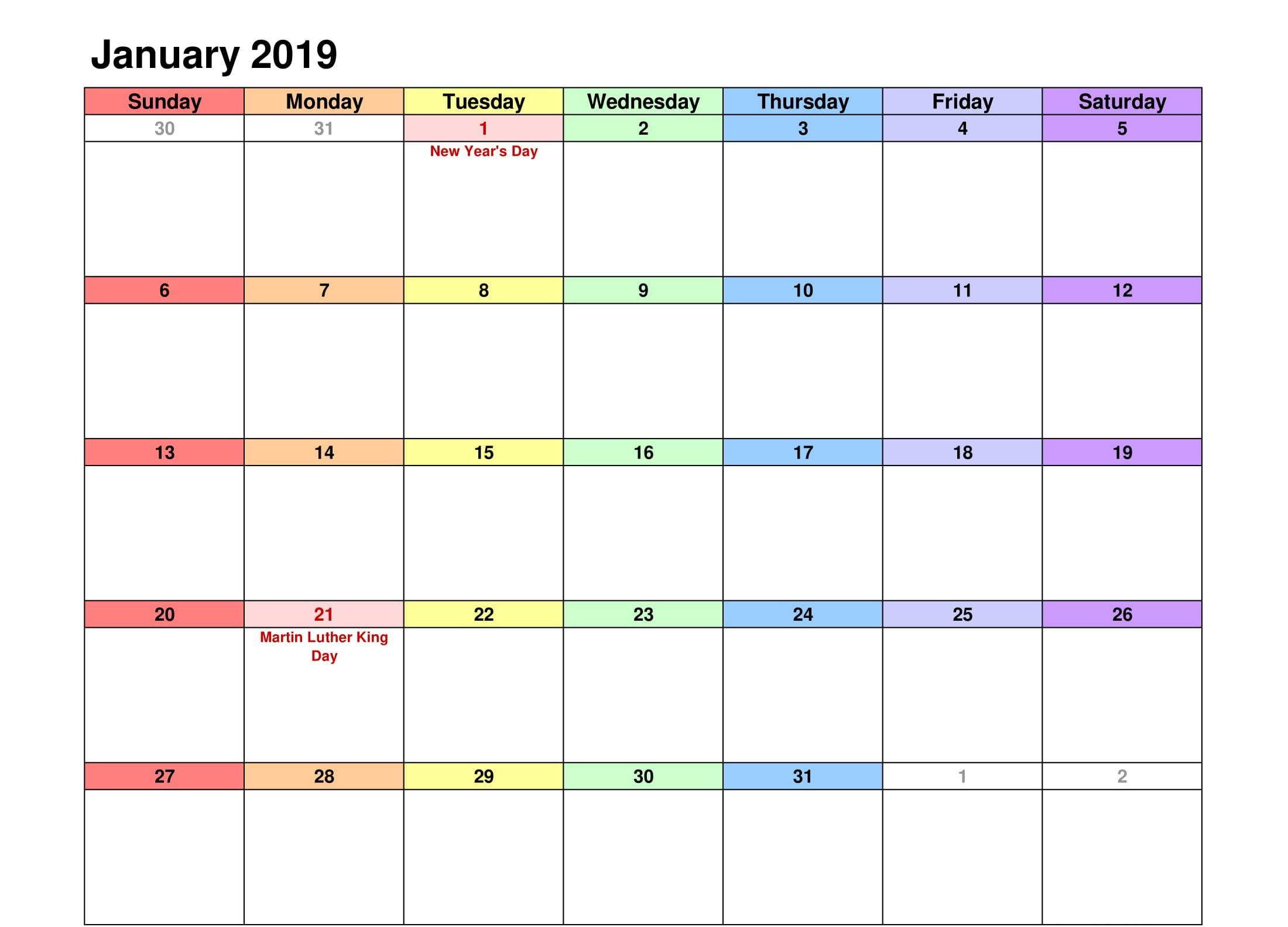 Printable January 2019 Calendar Template