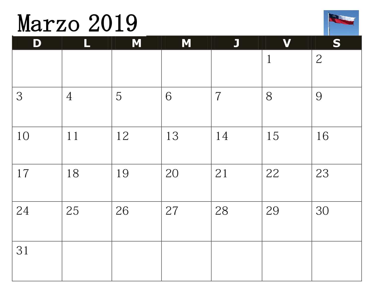 2019 Calendario Marzo Chile Grande
