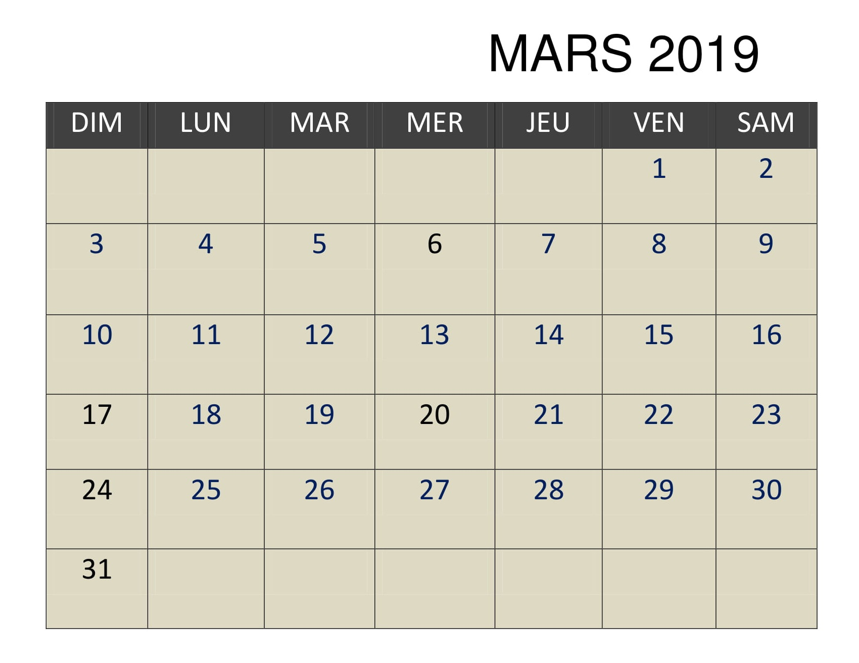 2019 Mars Excel Calendrier