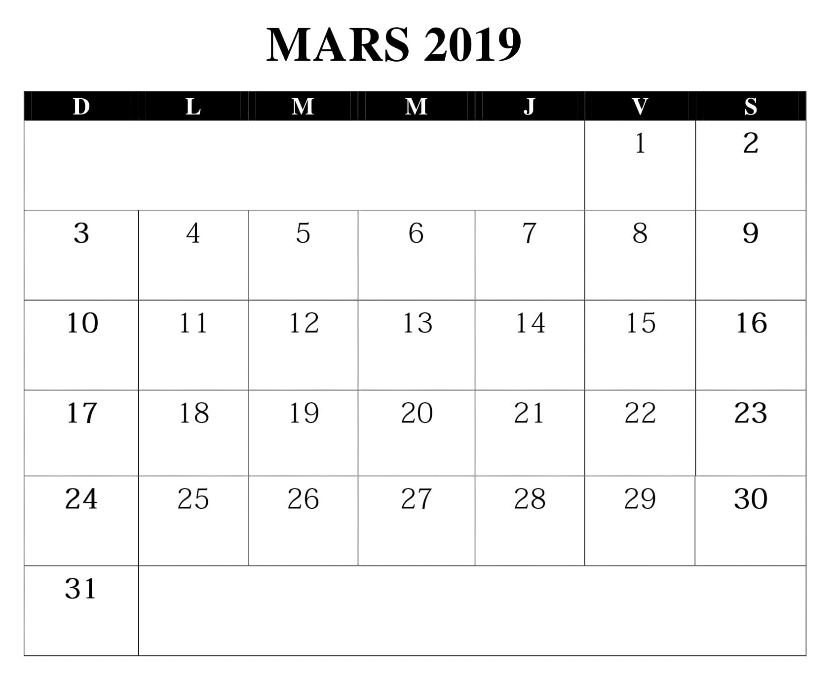 2019 Mars Table Calendrier