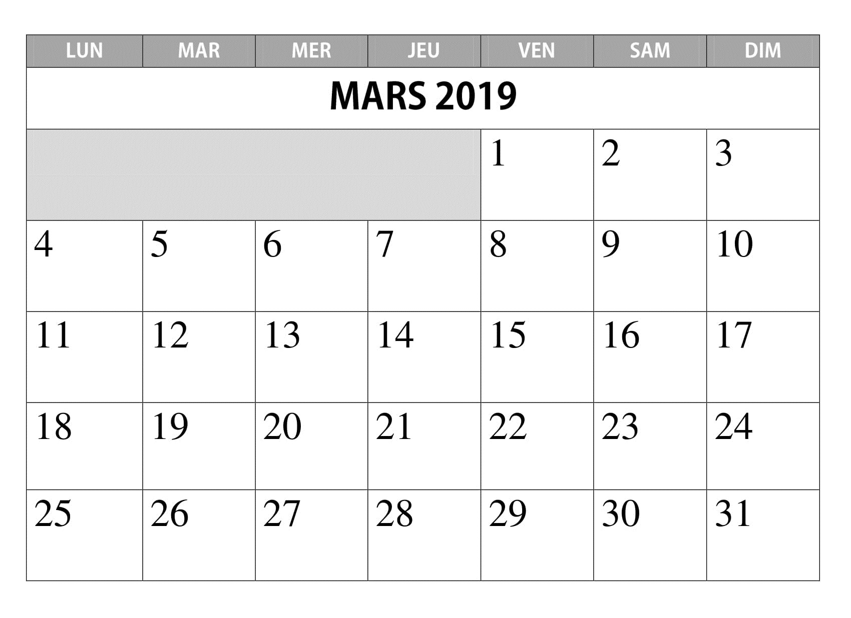 2019 Mars Word Calendrier