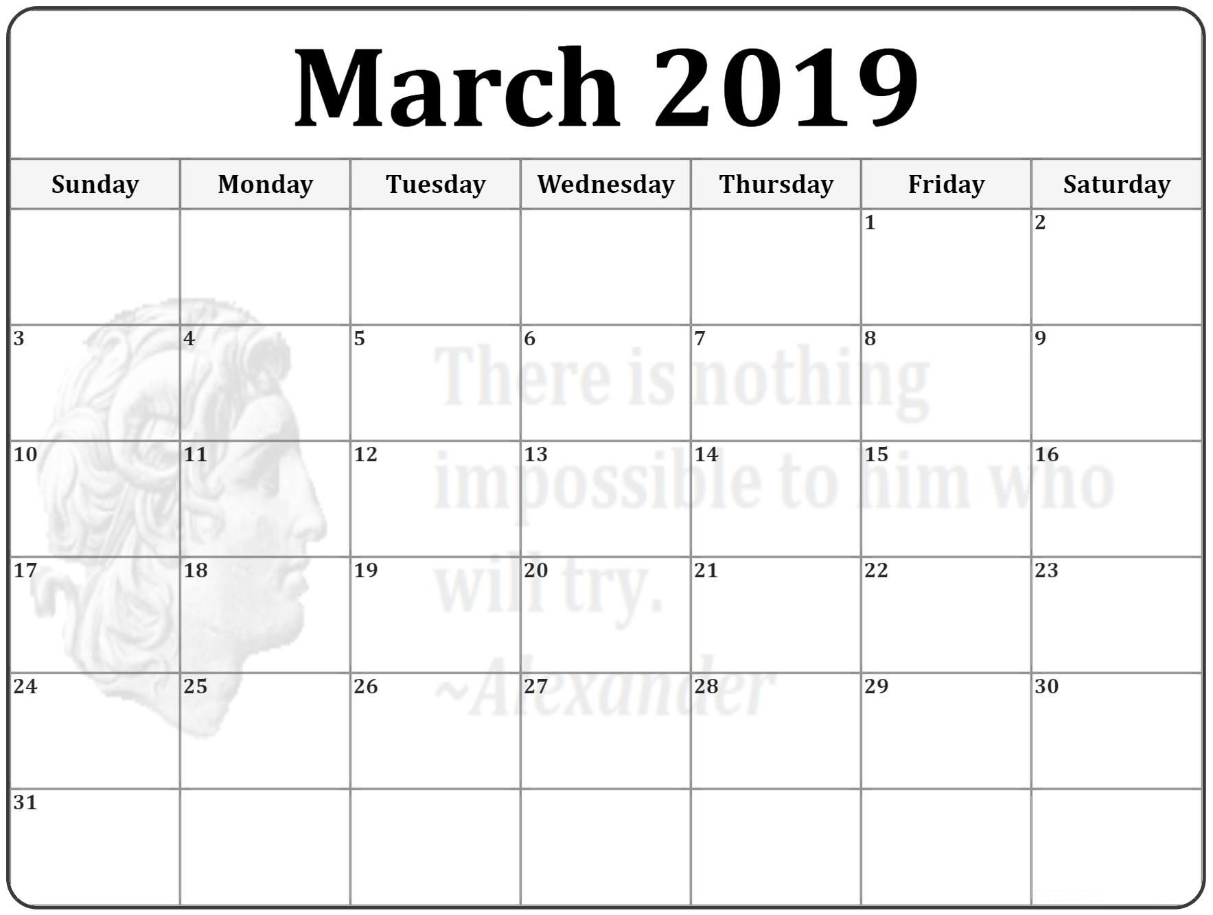 graphic relating to Printable Pdf Calendar called Printable Blank Calendar March 2019 Template PDF
