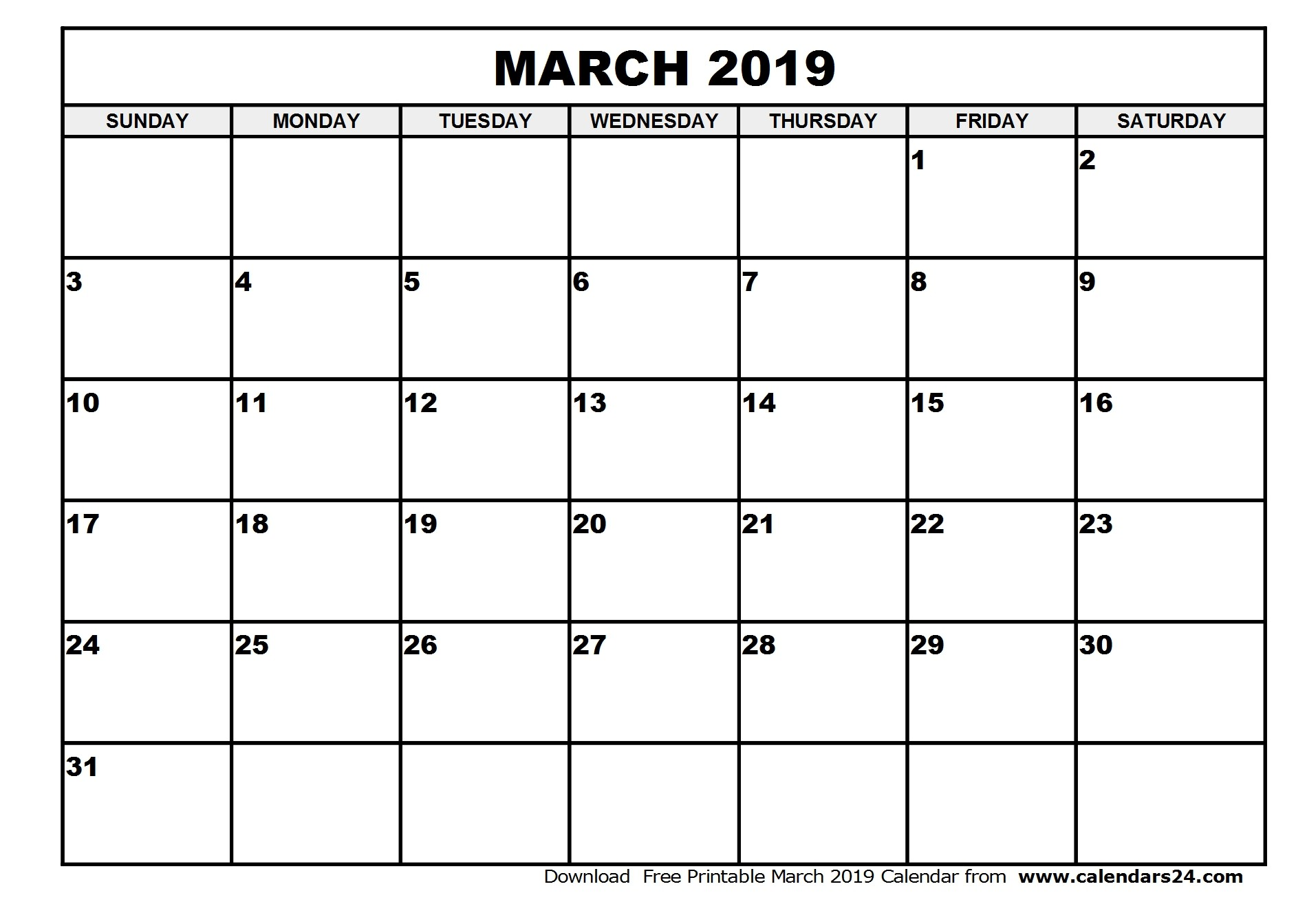 Printable Blank Calendar March 2019 Template PDF