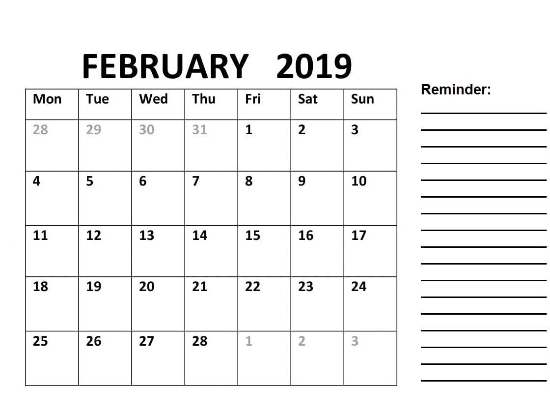 Blank Calendar Pages February 2019